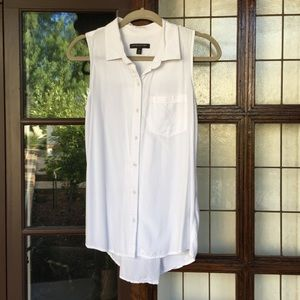 Banana Republic White Tank Button Down